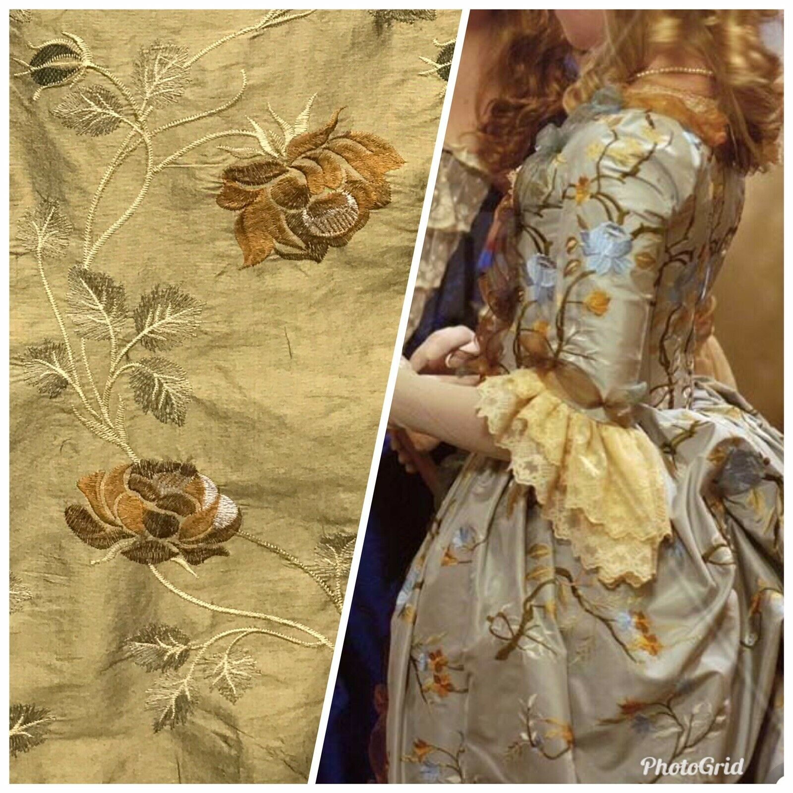 1 Yard Remnant!! 100% Silk Dupioni Embroidered Floral Fabric- Gold LLSUY0002