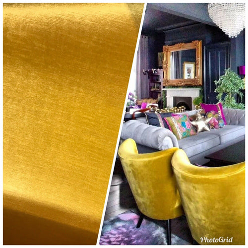 Designer Antique Inspired Velvet Fabric - Golden Yellow - Upholstery