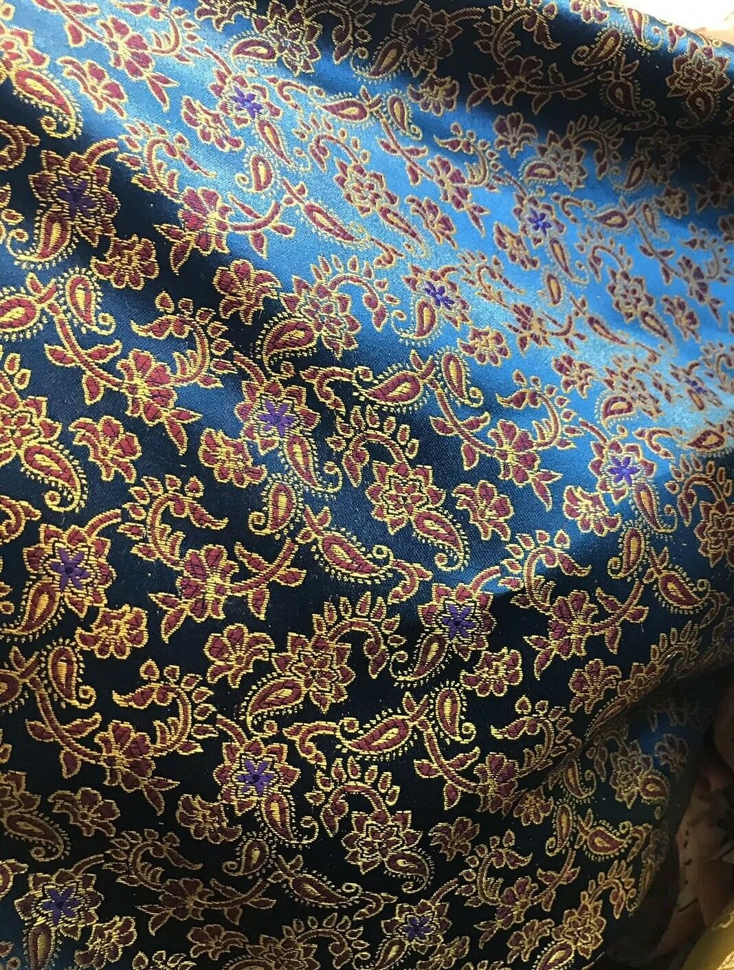 SALE! Countess Halle Designer 100% Silk Brocade Fabric- Midnight Blue Floral