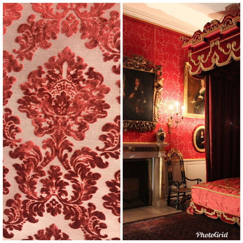 NEW Designer Damask Burnout Chenille Velvet Fabric - Electric Red- Upholstery