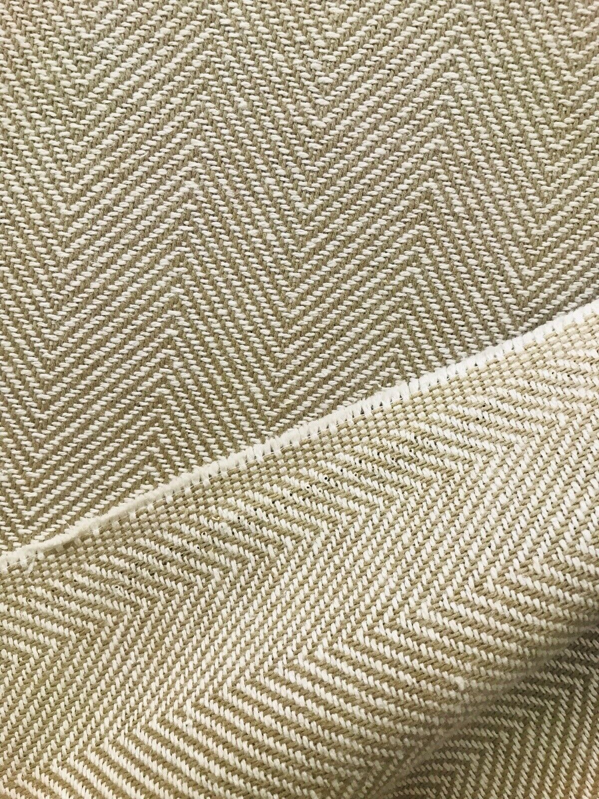 NEW Novelty Designer Herringbone Chevron Upholstery & Drapery Tweed Fabric - Camel