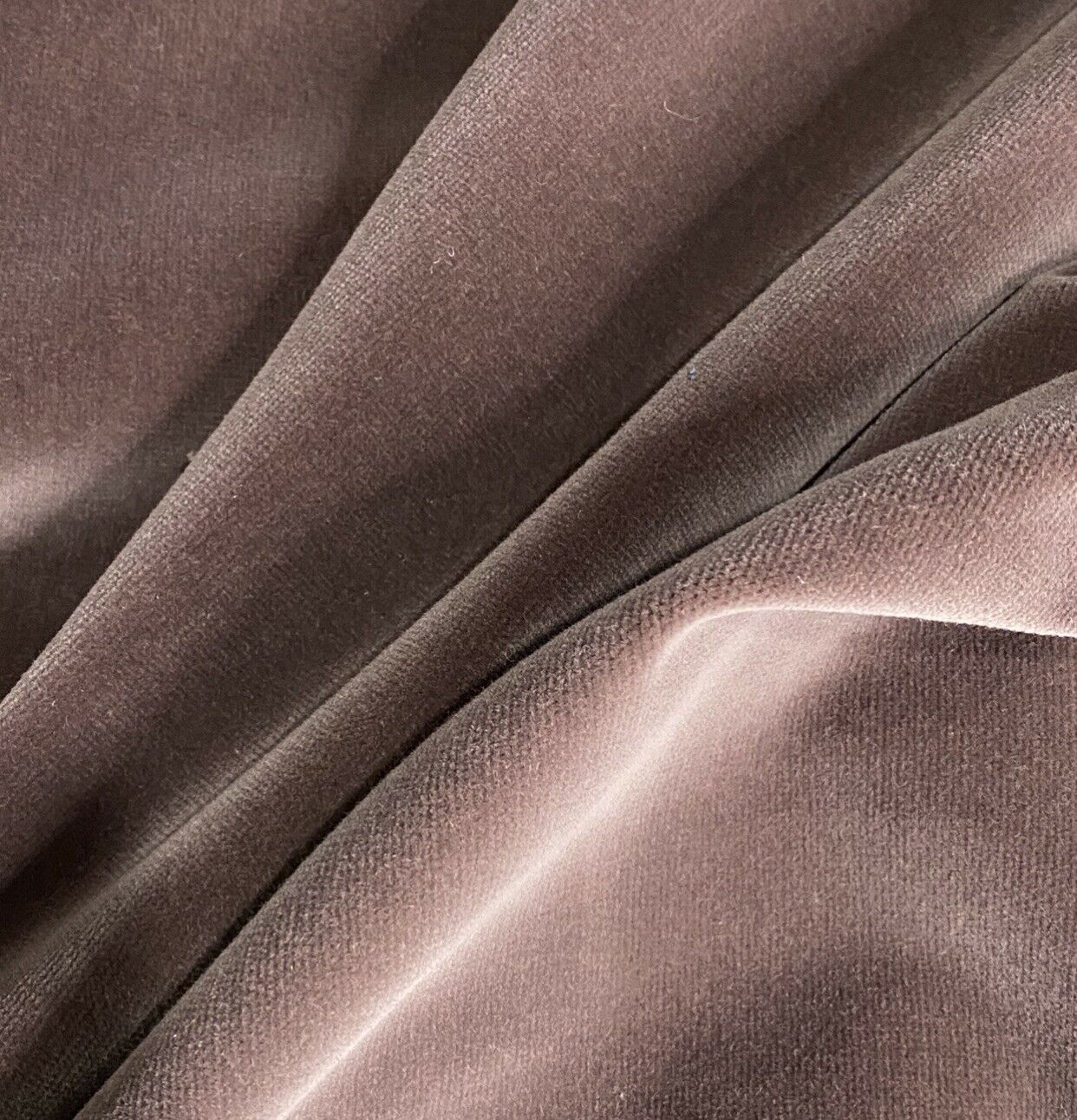 NEW Designer Velvet Cotton Upholstery Fabric - Soft- By The Yard- Cocoa Mauve