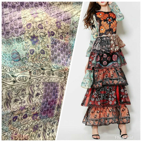 NEW! Designer 100% Silk Chiffon Fabric Bohemian Lavender Patchwork Floral