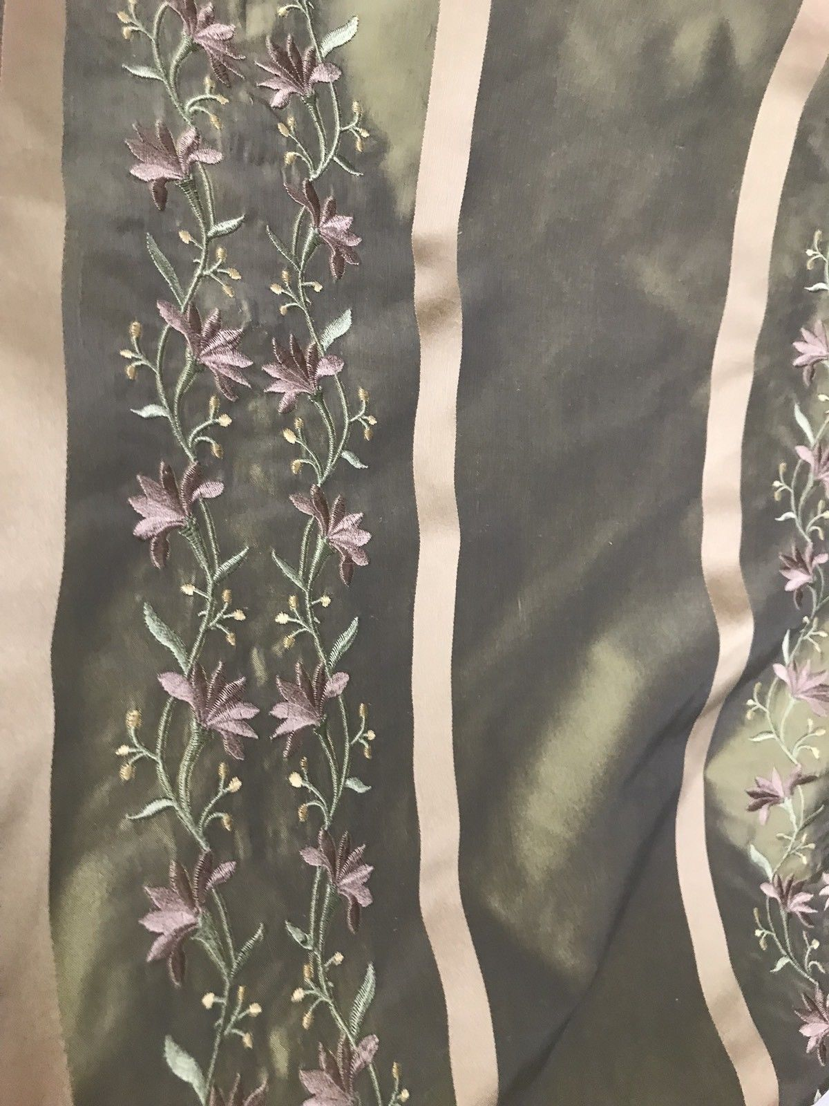 NEW! SALE! 100% Silk Taffeta Embroidered Fabric- Green With Lavender Floral - Fancy Styles Fabric Boutique