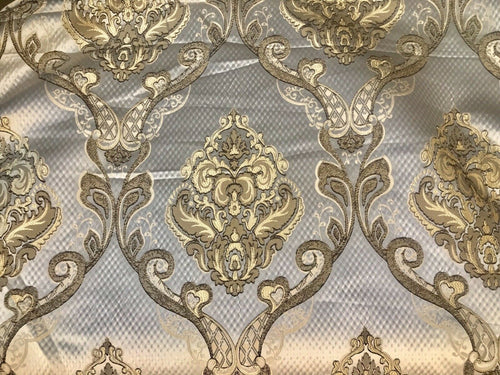 King Eliot Italian Brocade Damask Satin Fabric Ivory Gold Upholstery Neoclassical LLPBI0004