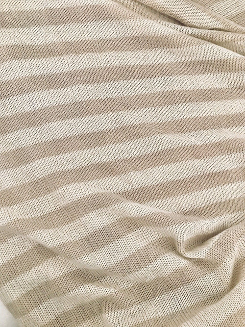 SALE! Close Out Designer Lightweight Rayon Sweater Knit Fabric- Oatmeal Stripe - Fancy Styles Fabric Boutique