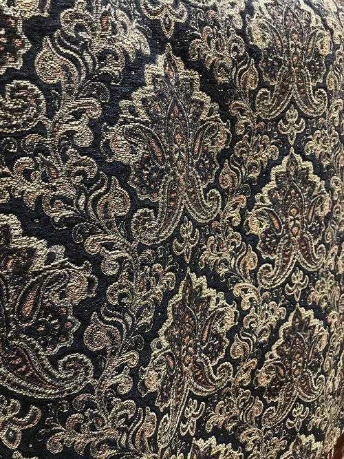 SALE! Designer Velvet Chenille Burnout Damask Brocade Fabric - Black Gold BTY