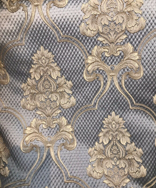 NEW Designer Satin Damask Upholstery Drapery Fabric - Pewter Gray BTY