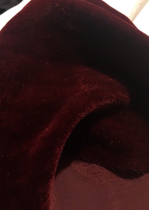 SWATCH Designer Silk & Rayon Velvet Fabric - Burgundy Red - Fancy Styles Fabric Boutique