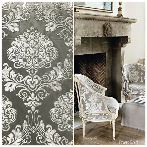 Designer Brocade Satin Burnout Chenille Velvet Fabric - Gray Upholstery Damask