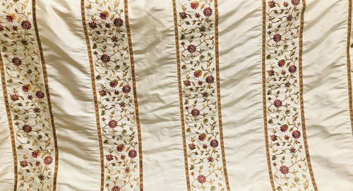 NEW! 100% Silk Dupioni Embroidered Floral Stripes Rows Fabric- Cream BTY