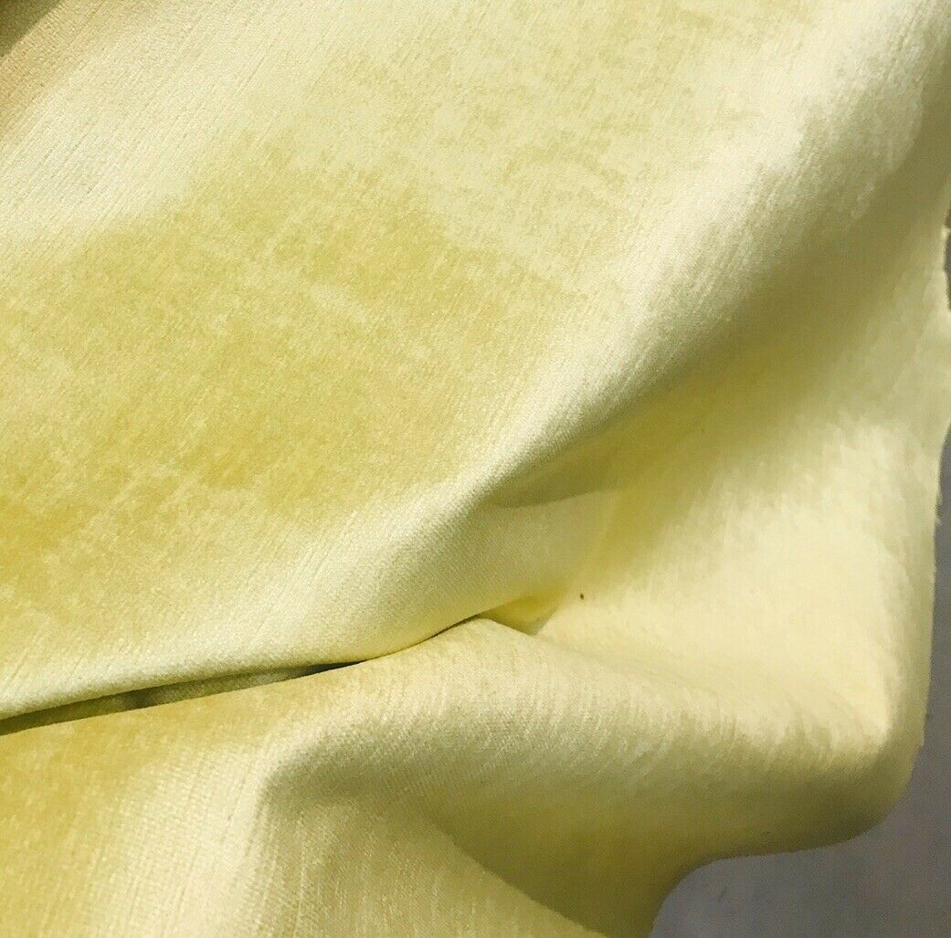 Designer Heavy Weight Velvet Upholstery Fabric - Soft- Light Yellow BTY
