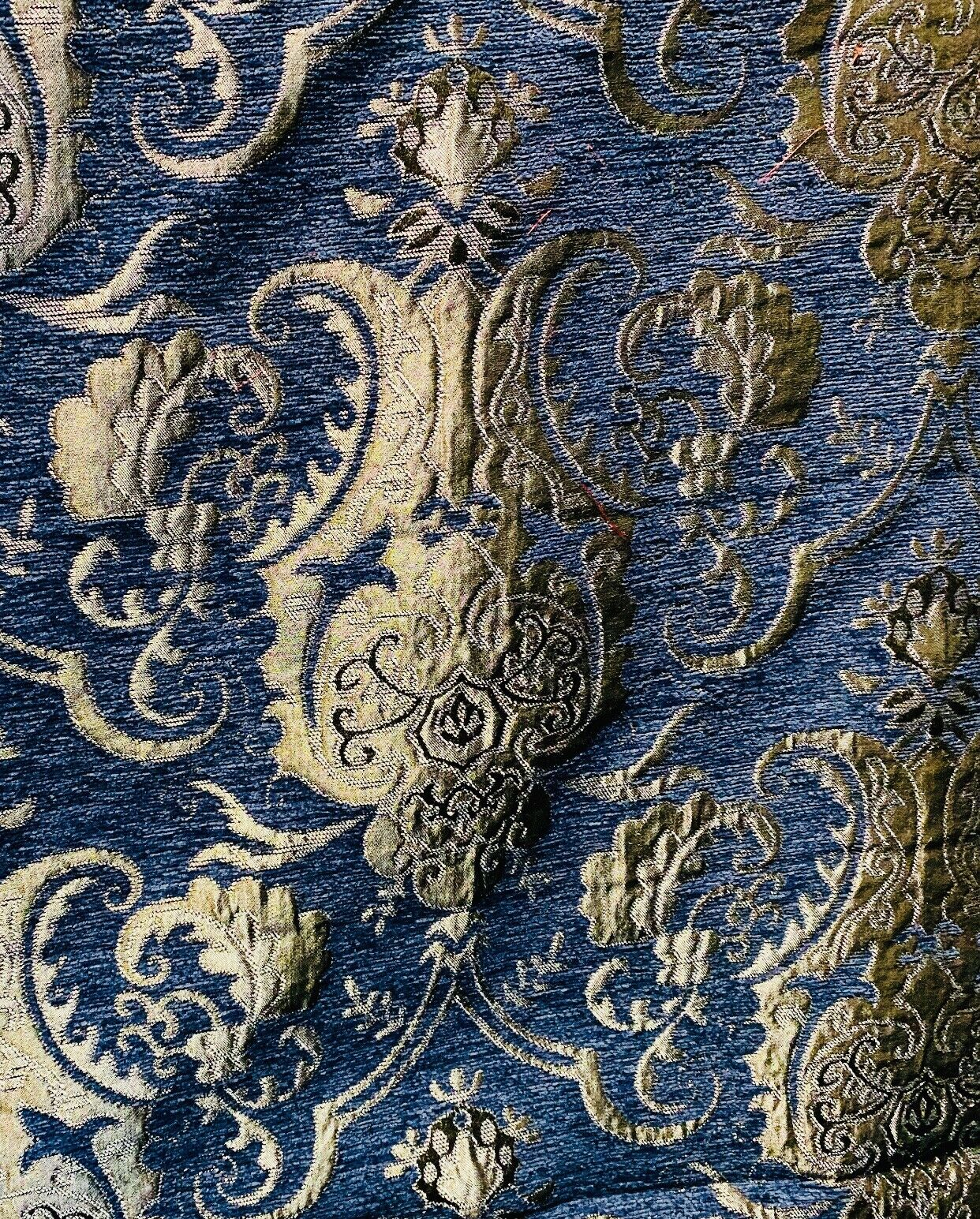 NEW Lady Emile Designer Damask Burnout Chenille Velvet Fabric - Blue & Gold BTY