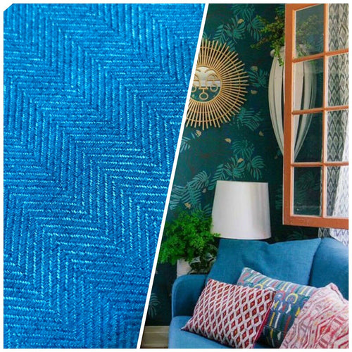 NEW Designer Upholstery Herringbone Chevron Pattern Tweed Fabric -Turquoise Blue