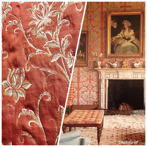 NEW! Designer Quilted Brocade Floral Upholstery Fabric- Rust Brick Red