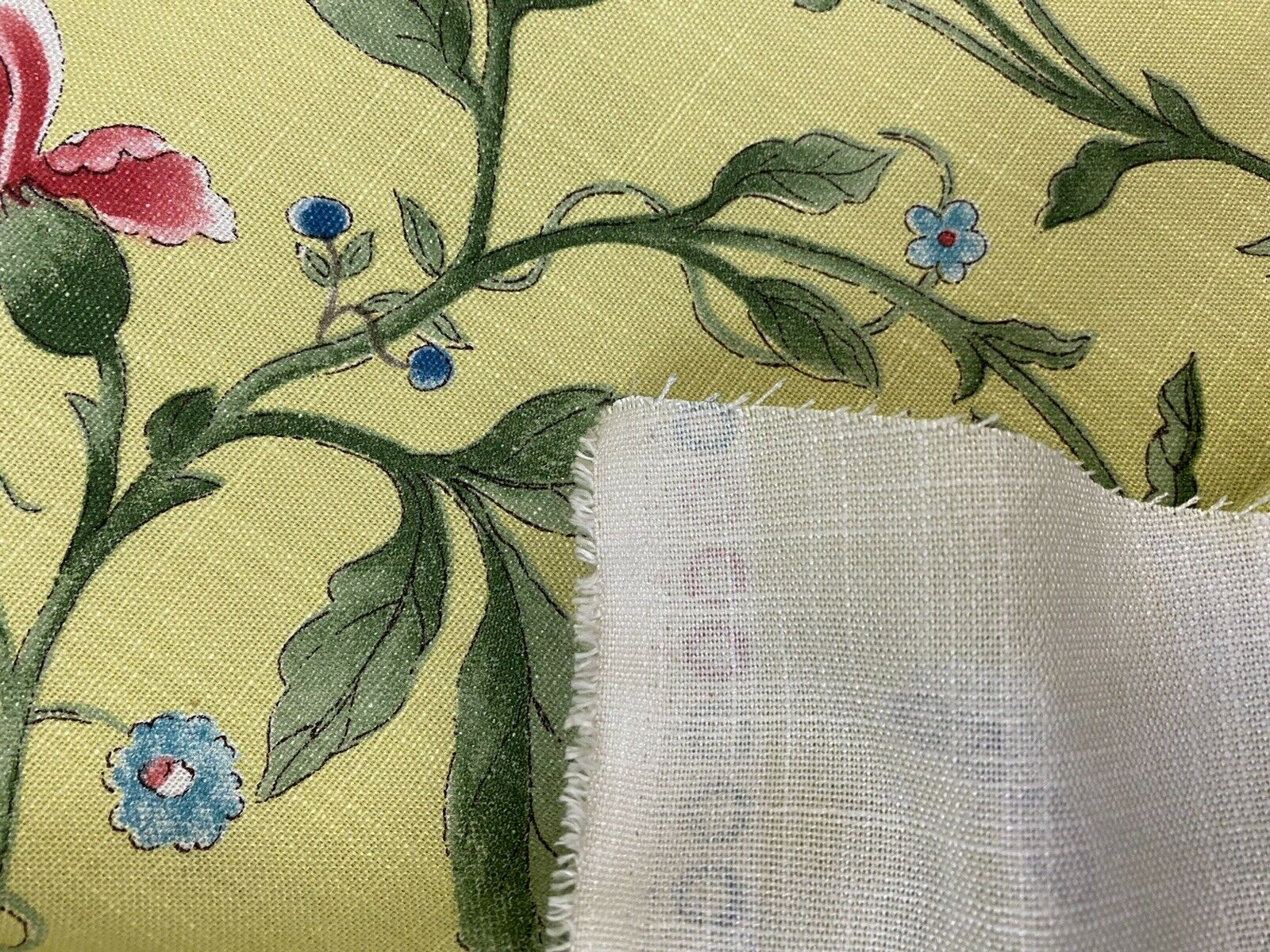 NEW! Miss Jamie Designer Floral & Bird Motif Drapery Upholstery Fabric- French Yellow