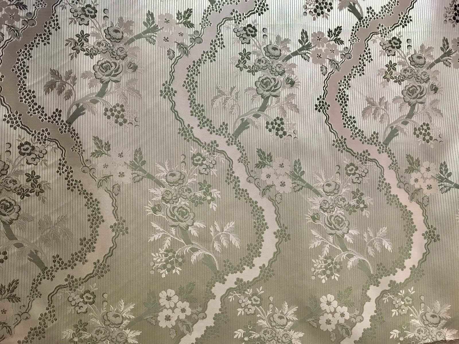 SWATCH Designer Brocade Satin Fabric- Mint Green Pink Floral - Damask - Fancy Styles Fabric Boutique
