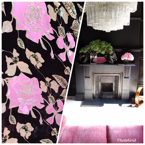 Designer Silk and Rayon Burnout Velvet Fabric - Pink & Black - Beaded Floral - Fancy Styles Fabric Pierre Frey Lee Jofa Brunschwig & Fils