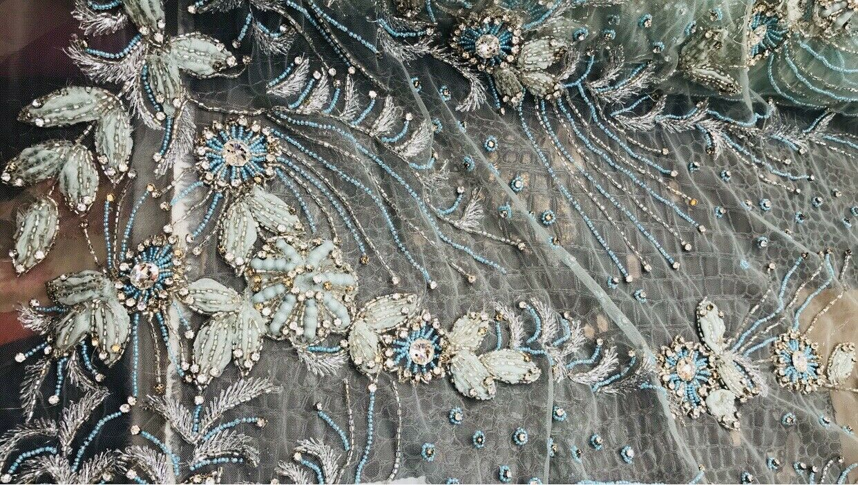 NEW Novelty Couture 100% Silk Floral Mesh Beaded Yarn Embroidered Fabric Tiffany BTY