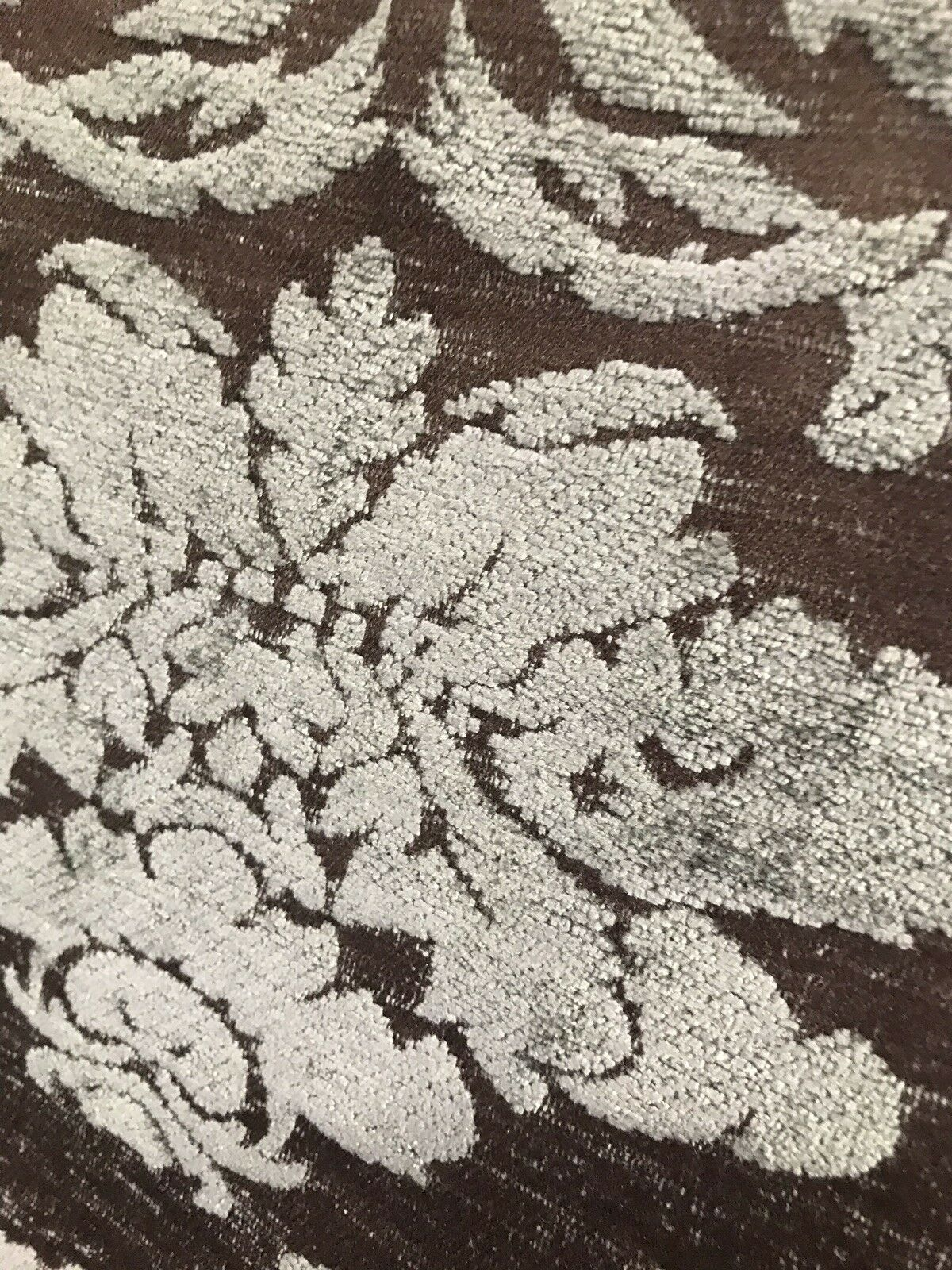 BACK IN STOCK!!! Damask Burnout Chenille Velvet Fabric - Gray & Brown