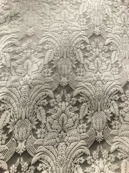 NEW! 100% Silk Taffeta Interior Design Fabric Damask Brocade Silver-Taupe