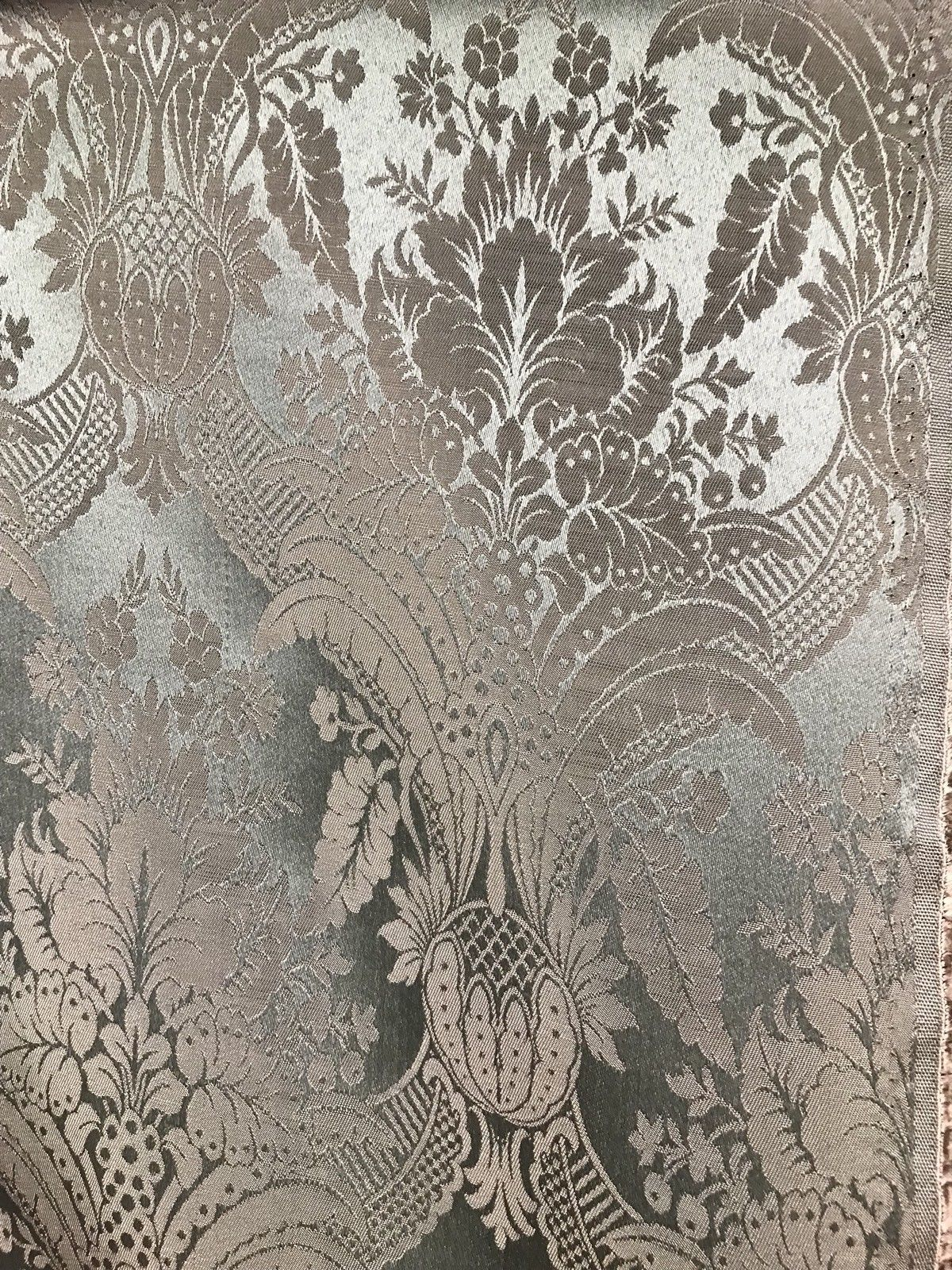 NEW! SALE! Designer Damask Satin Fabric- Antique Green - Upholstery Brocade - Fancy Styles Fabric Boutique