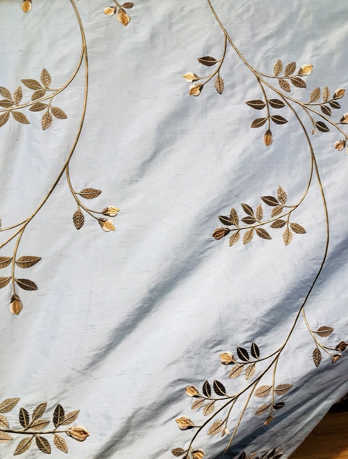 SWATCH Designer 100% Silk Taffeta Embroidered Fabric - Eggshell Blue Gold Floral - Fancy Styles Fabric Boutique