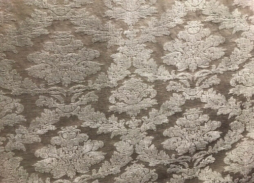 NEW! Back In Stock! Velvet Chenille Burnout Upholstery Fabric - Taupe & Gray