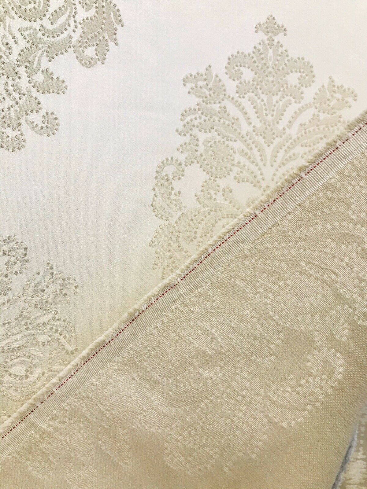 NEW Lady Alison Designer Satin Damask Brocade Upholstery Drapery Fabric - Cream Ivory BTY