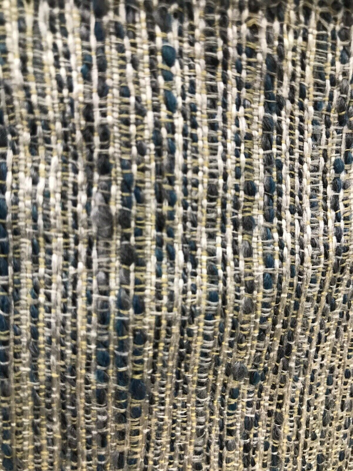 NEW Designer Upholstery Heavyweight Nubby Tweed Fabric- Navy Blue Gray Natural