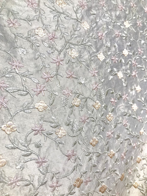 SWATCH- 100% Silk Embroidered Taffeta Fabric - Floral Gray Pink Floral - Fancy Styles Fabric Boutique