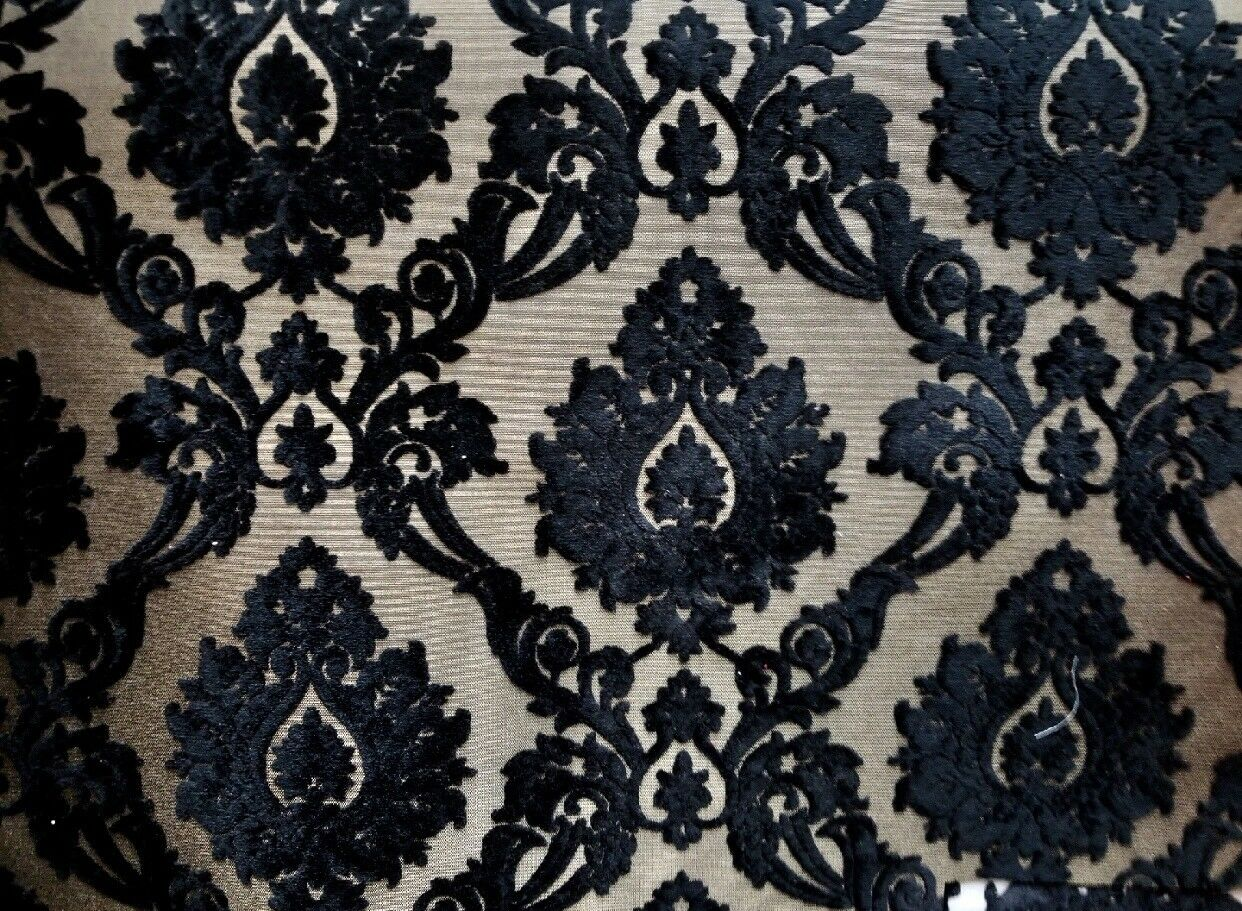 NEW Designer Burnout Damask Chenille Velvet Fabric - Black & Flax- Upholstery