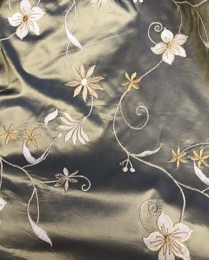 NEW! SALE! 100% Silk Taffeta Embroidered Floral Fabric - By The Yard - Fancy Styles Fabric Boutique