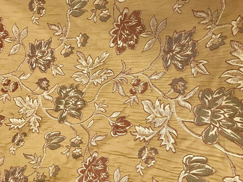 NEW Designer Jacquard Brocade Damask Upholstery Fabric- Mustard Yellow - Fancy Styles Fabric Boutique