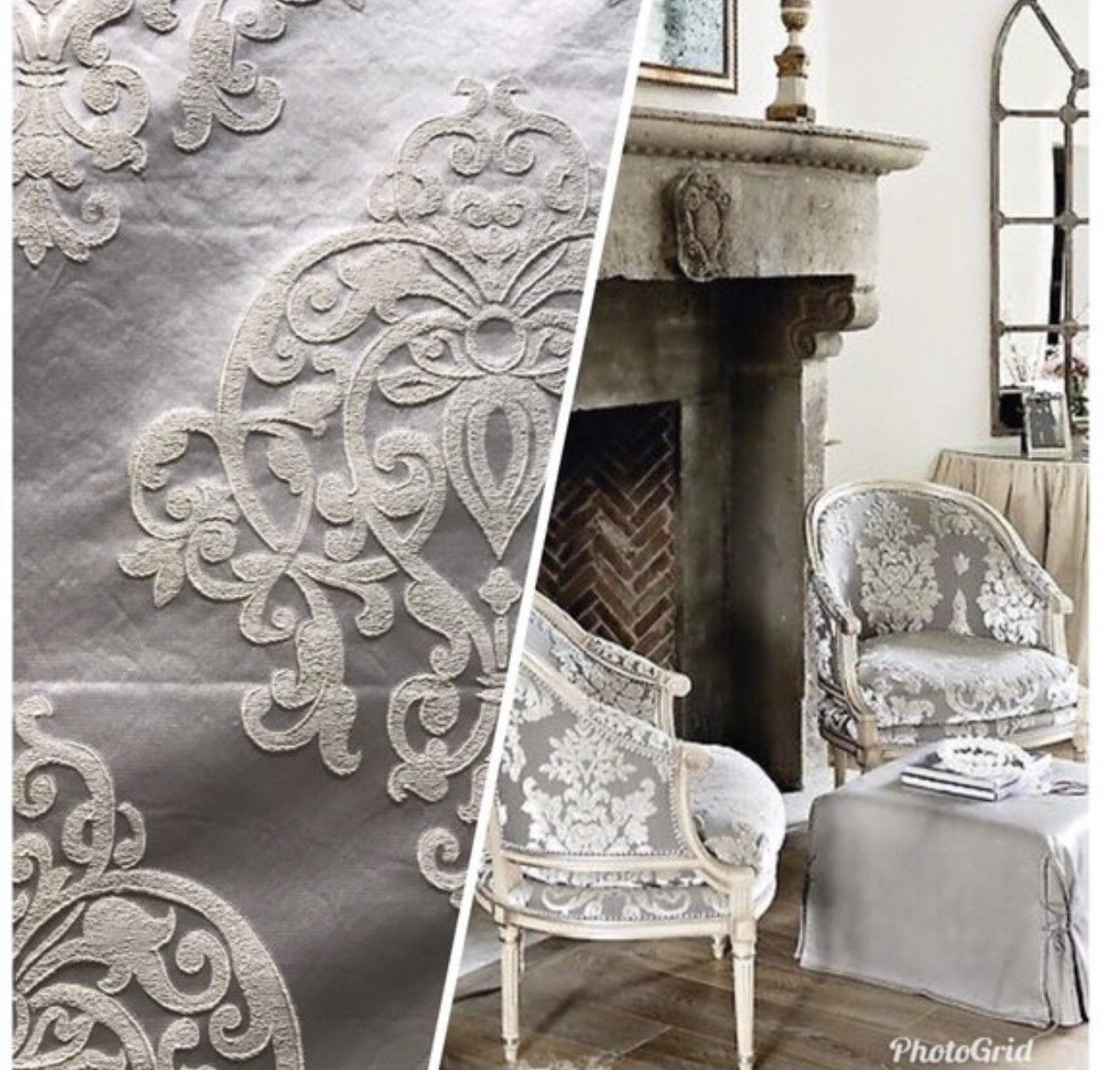 1 Yard Remnant- Designer Brocade Satin Damask Upholstery Fabric - Ivory Grey - Fancy Styles Fabric Pierre Frey Lee Jofa