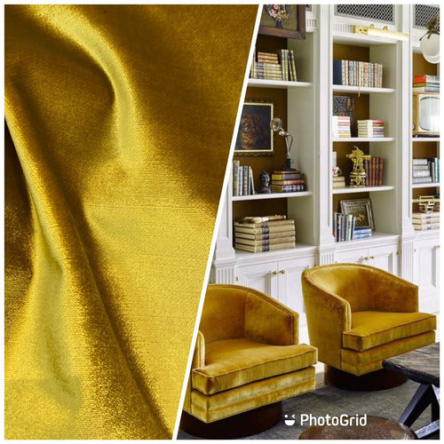 NEW Designer Made In Belgium Upholstery Velvet Fabric- Mustard Yellow
