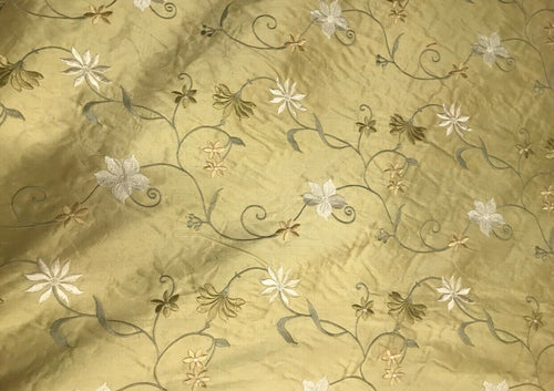 NEW! 100% Silk Dupioni Drapery Golden Yellow Embroidered Floral Fabric