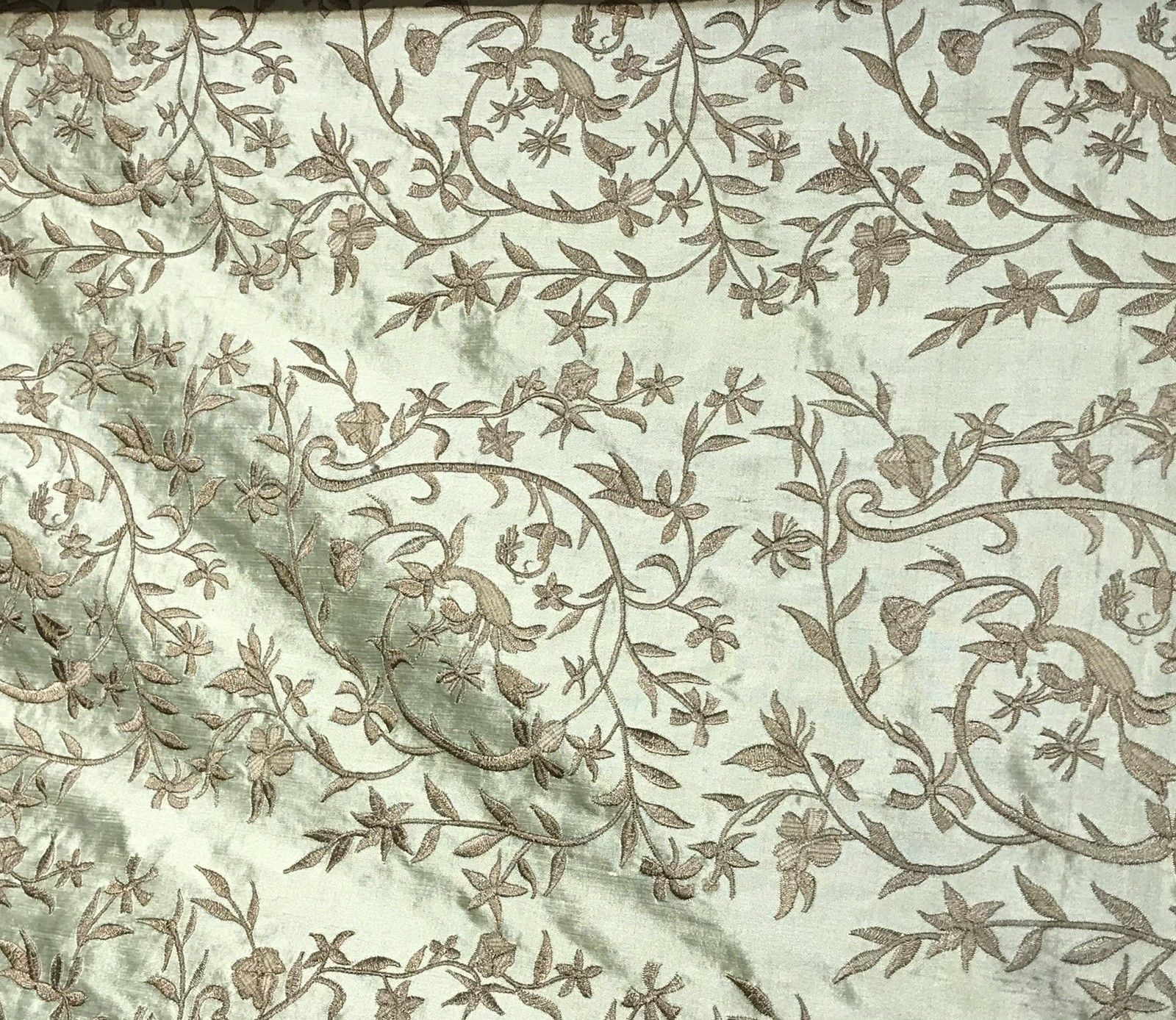 SALE! Designer 100% Silk Taffeta Dupioni Embroidery Floral Fabric - Mint Green - Fancy Styles Fabric Boutique
