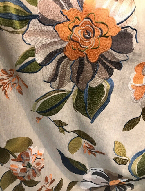 Novelty Cotton Oversized Floral Embroidery Fabric- Flax By The Yard