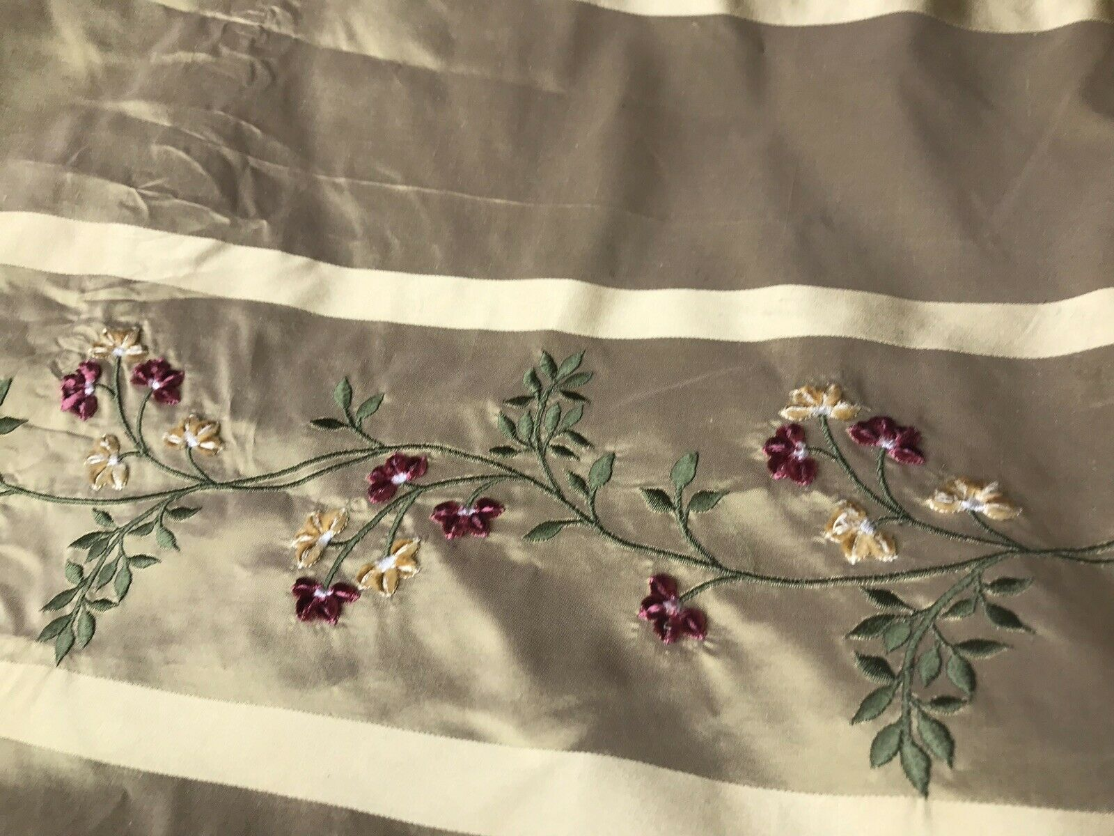 Princess Harriet Designer 100% Silk Taffeta Dupioni Embroidery Floral Fabric -Gold