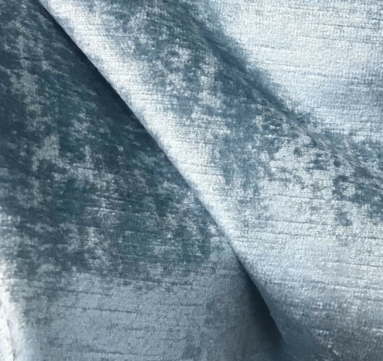 NEW! Designer Velvet Upholstery Fabric - Antique Light Blue- BTY