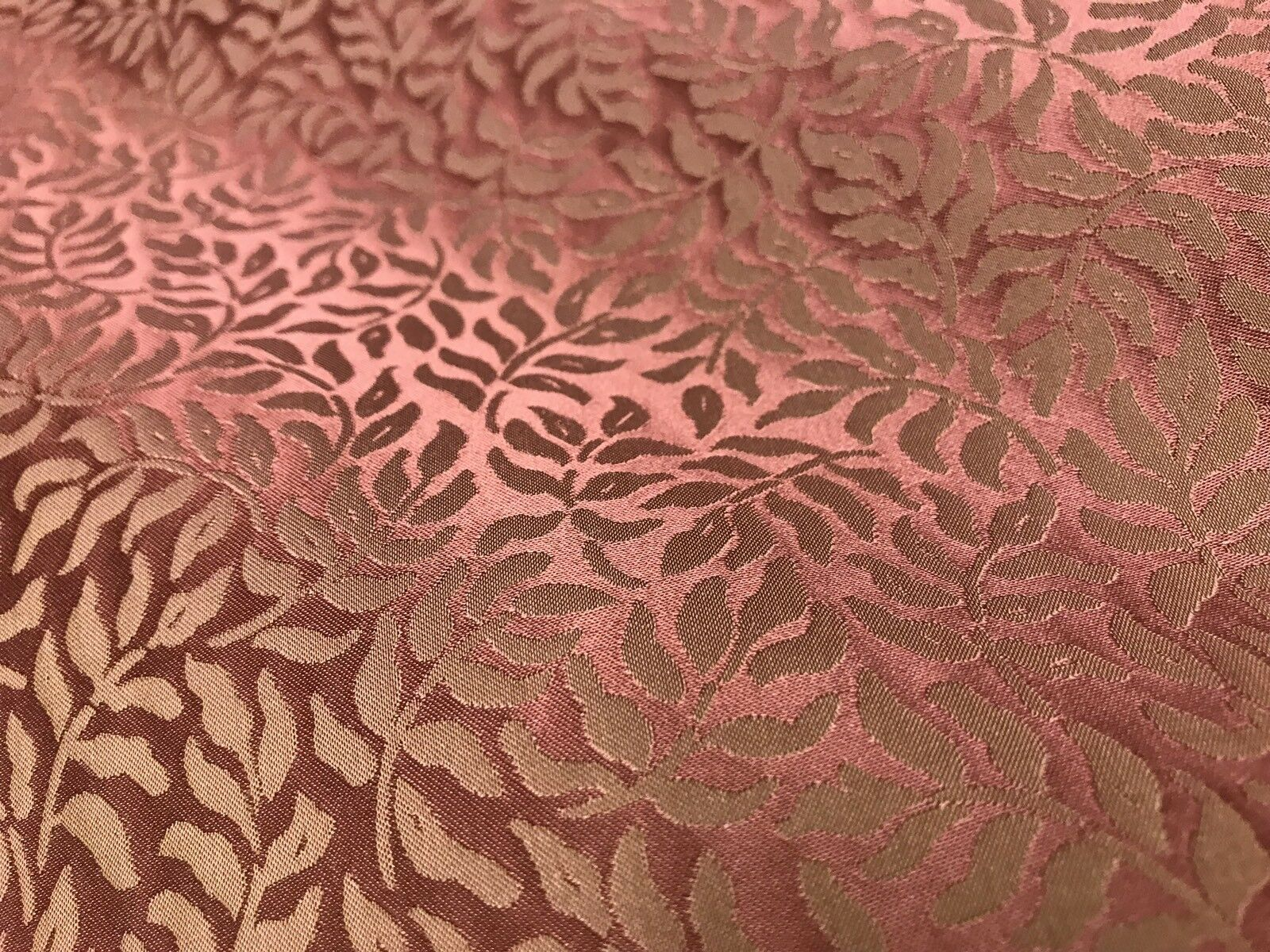 "NEW! SALE! 100% Silk Taffeta Decorating Fabric - Muted Red- Leaves- 55"" Wide"