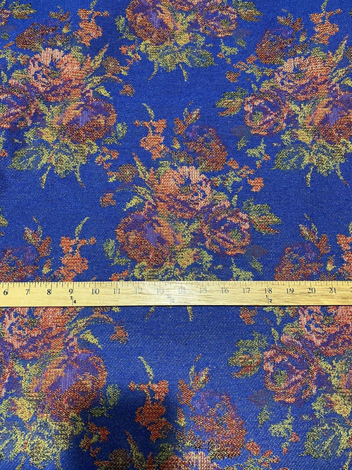 NEW Miss Juniper Designer Floral Needlepoint Inspired Upholstery Fabric- Blue & Roses