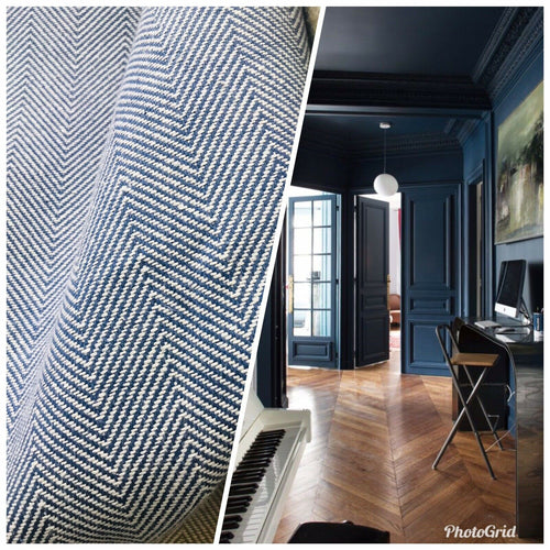 NEW Novelty Designer Herringbone Chevron Upholstery & Drapery Tweed Fabric - Blue