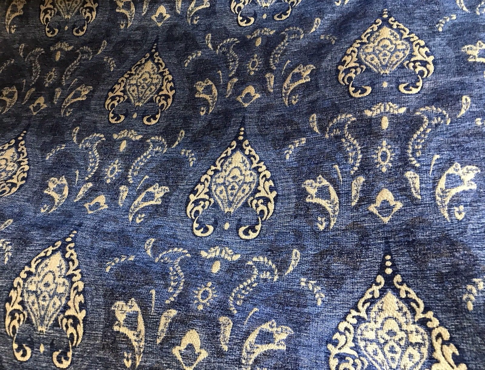 SWATCH Designer Upholstery Chenille Velvet Fabric - Blue Gold - Fancy Styles Fabric Boutique