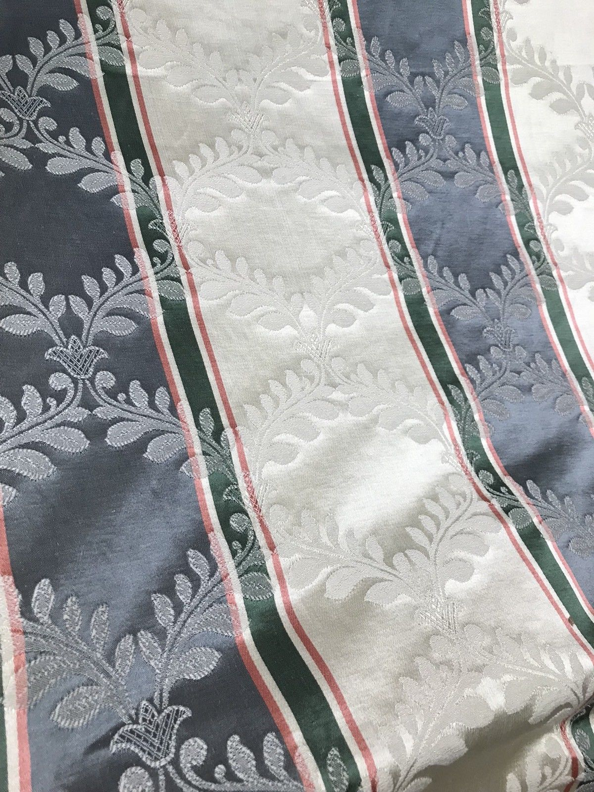 NEW! SALE! Designer Brocade Satin Fabric- French Blue Stripe- Drapery Damask - Fancy Styles Fabric Boutique