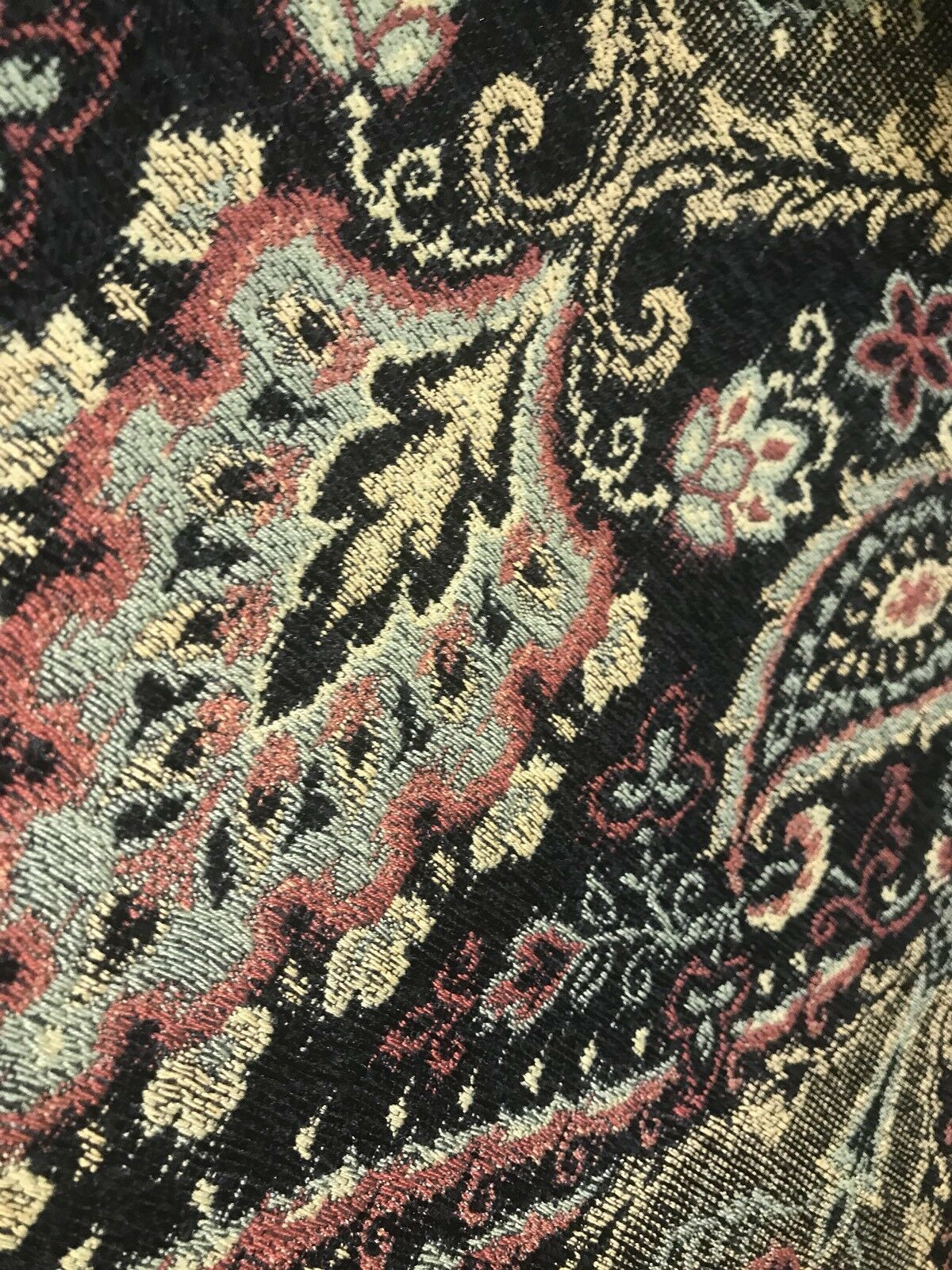 SWATCH Designer Velvet Chenille Burnout Fabric - Black With Muted Multi Colors