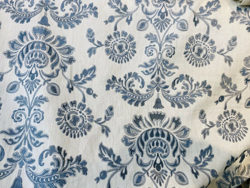 NEW! Novelty 100% Cotton Fabric Floral Damask Embroidery- Blue & White