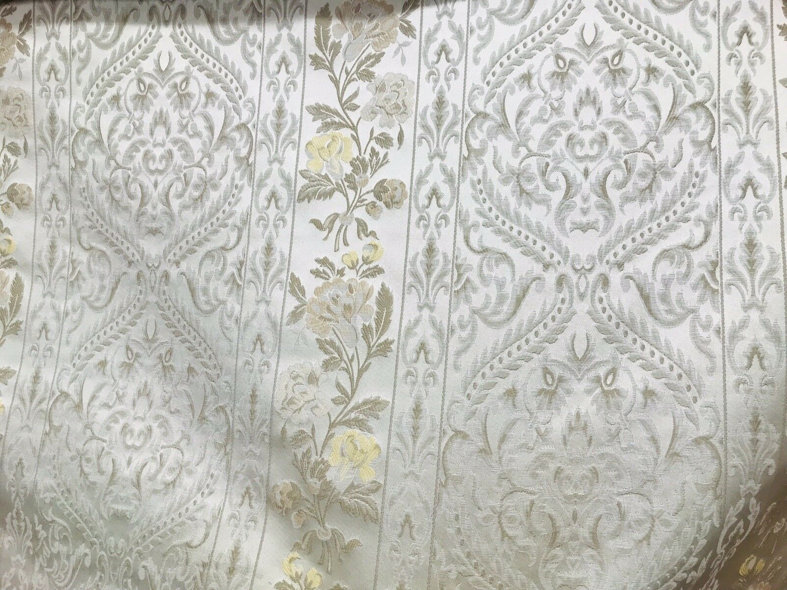 NEW Italian Brocade Satin Fabric- Ivory- Floral Upholstery Neoclassical Louis