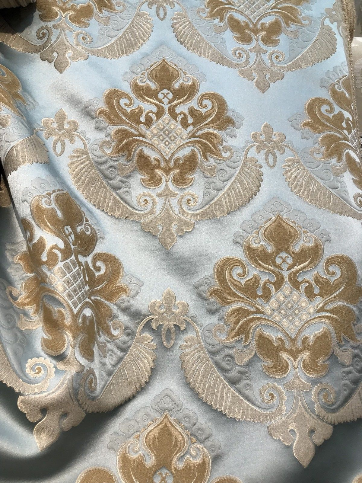 SWATCH Brocade Satin Fabric- Antique Blue & Honey - Damask- Upholstery - Fancy Styles Fabric Boutique